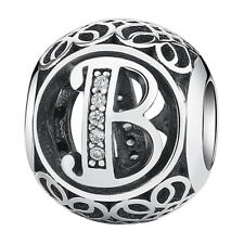Hot Letters B European Silver CZ Charm Beads Fit sterling 925 Bracelet Chain #B