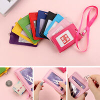 Card Cover Holder w/ Lanyard&Zipper Business Card Case Coin Purse ID Card Bag