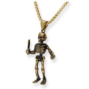 Edelstahl Kette Anhänger Totenkopf Medaillon Schädel Skull NEU Gold Skelett Uni