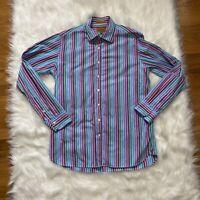 Simon Carter Dress Shirt Button Up Collared Stripes Slim Fit Men's Size Large L