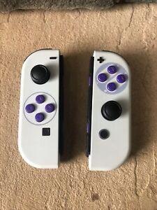 Rare Pair Custom SNES Genuine Nintendo Switch Joy Cons w/ Purple Buttons! READ!!