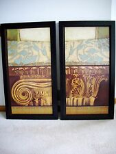 """Grand Column"" Pair, Framed Wall Art by Antonio Lissota/ Bombay Co. 44.5 x 24.5"