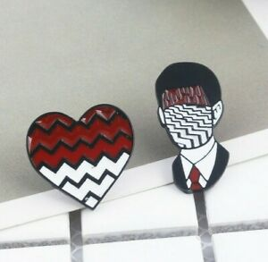 Twin Peaks Enamel Pins David Lynch Dale Cooper Brooch Red room hands up TV show