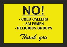 no cold callers salesmen sticker vinyl car taxi door cafe macbook self adhesive