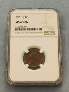 1931 S Lincoln Wheat Cent MS 63