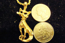 "bling gold plated cat pet kitten pendant charm 24"" rope chain hip hop necklace"