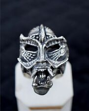Biker ring, OLD SCHOOL,  SKULL with large  protruding fangs , STERLING SILVER