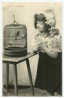 Circa 1905 Little GIRL w/ her SINGING BIRD in Cage Antique French photo postcard