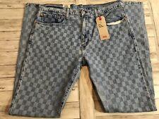 New NWT 512 Men's Levi's 36x36 Plaid Checkered Denim Jeans Slim Stretch N17