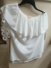 New Gibson and Latimer One  Shoulder Ruffle Women Blouse Ivory US size small