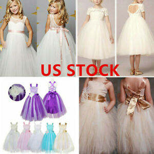 US Flower Girl Communion Party Dress Princess Pageant Bridesmaid Wedding Dresses