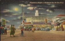 Wildwood NJ Playland Amusement Park at Night Linen Postcard