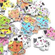 Mixed Wooden buttons Printing cat Sewing Scrapbook decoration 2 Holes WB412