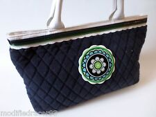 Vera Bradley Little Terry Tote Green Cupcakes Navy Blue Bag