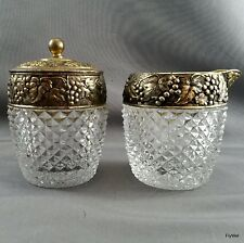 Glass Creamer and Covered Sugar Diamond Point w Metal Collars Grapes and Leaves