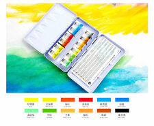Pebeo Artist Paint Water color Aquarelle Fine 12 Half Pans Metal Box Pocket Set
