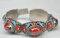 CHINA OLD TIBET DYNASTY PALACE CLOISONNE SILVER INLAID JADE BRACELET