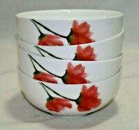 Mikasa Keira White / Red Flowers Bone China Small Fruit Bowls Set of Four New