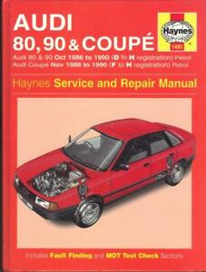 AUDI 80,90,COUPE,1.6,1.8,2.0,2.2,2.3 E,S,CD,20V,SPORT HAYNES MANUAL 1986-1990