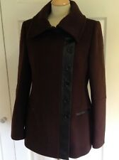 NEW BASTYAN dk brown WOOL blend short coat with black faux leather trim UK 12