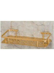 Rectangle Aluminum Bathroom Shower Shelf, No Drilling Polished Golden