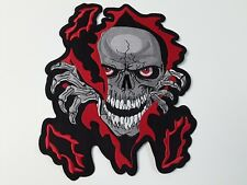 """1 pc Skull claws flame Biker emb patch 11X9-1/8"""" Sew/iron-on"""