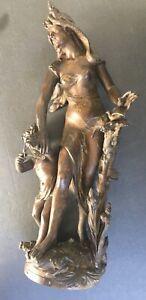 "Antique Emile Bruchon's Sculpture "" La Protection"" Spelter - Circa 1900"