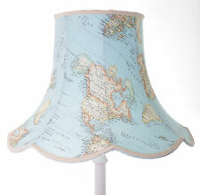 Vintage lampshade in blue world map design for a standard lamp or ceiling