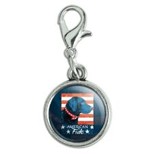 American Fido American USA Flag Lab Dog Bracelet Charm with Lobster Clasp