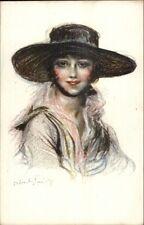 Beautiful Woman in Hat - Abel Faivre Figure de Femme c1915 Postcard
