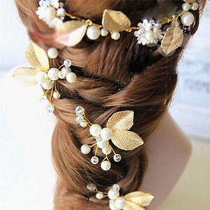 4x Women Bridal bridesmaid Pearl Gold Leaf Headpiece Hair Pin Hairpin Wedding BD