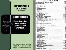 John Deere - John Deere Nos. 44, 44A, 44H, 44AH Tractor Plows Operator's Manual