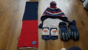 Boys Winter Hat, Scarf And Gloves Set Bundle Age 6-10 Years, Monsoon & Joules
