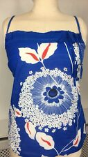 MONSOON Blue Silk Blend Thin Summer Floral Strappy Camisole Top UK 8