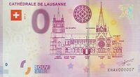 BILLET 0  EURO CATHEDRALE DE LAUSANNE  SUISSE  2019 NUMERO 007