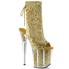 "8"" Gold Glitter Stacked Super High Platform Pleaser Stripper Ankle Boots Heels"