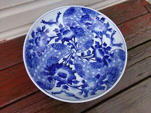 Japanese Imari Blue and White Glazed Porcelain Charger 19th Century Edo Period.