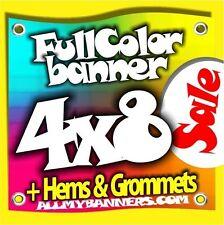 4x8 Printed Full Color Custom Banner Sign * Vinyl * +grommets +hems AMBSP