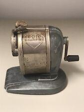Boston Champion Vintage Pencil Sharpener Pinch Feed Hand Crank Grey Chrome