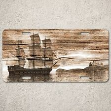 Lp0147 Beach Wood Vintage Sailing Ship Sign Auto Car License Plate Rust Decor