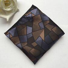 Classic Mens Silk Handkerchief Geometric Woven Brown Pocket Square Hanky F-126