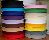 25mm 100% Cotton Bias Binding Tape Trim 1 5 10 or 25 metres Various Colours