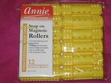 "Annie Snap On Magnetic Hair Rollers Yellow (12 -Count Pack) 3/4"" Medium Rollers."