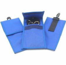 """Small Nylon Pouch with Belt Loop & Snap, 8"""" x 3 3/4"""", Blue"""