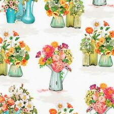 Blossom Floral Vase Flowers Robert Kaufman Cotton Quilting Fabric 1/2 YARD