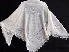 Châle russe d'Orenbourg blanc cassé 140x140 duvet chèvre/soie tricoté main shawl