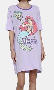 New Woman's Disney Little Mermaid Ariel Sleep Shirt Nightgown One Size Purple