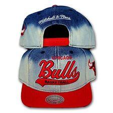 Original Mitchell & Ness Chicago Bulls Snapback Cap NBA jeans/rot DIP DYE EU165