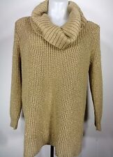 Michael Kors Sweater Size Large Gold Dark Camel Metallic Cowl Neck Chunky NWT