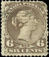 1868 Used Canada F Scott #27 6c Large Queen Issue Stamp